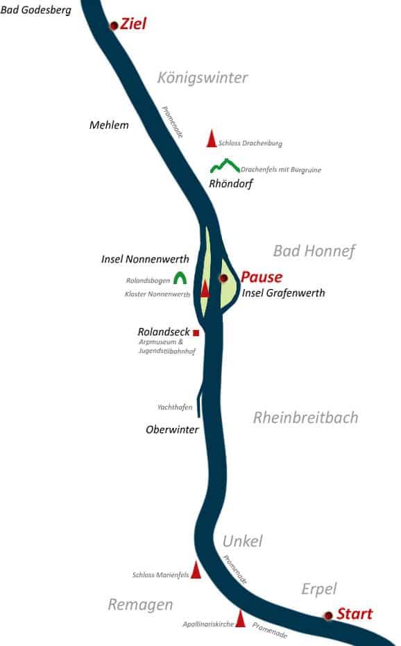 Rhein-Rafting Bonn Karte R3