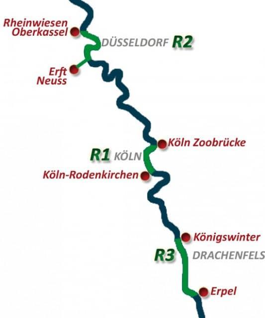 Karte Rhein Rafting NRW in Köln, Düsseldorf und Bonn
